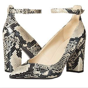 New Marc Fisher Gilla 2 Snakeskin Ankle Wrap Heels